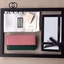 GUCCI 410100-06 名媛必備時尚新款粉色拼綠色全皮長款錢夾