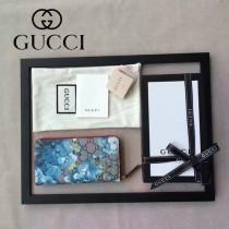 GUCCI 404071-5 時尚新款天竺葵系列PVC配牛皮長款拉鏈錢包