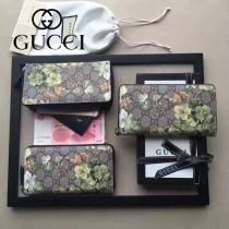 GUCCI 404071-6 時尚新款天竺葵系列PVC配牛皮長款拉鏈錢包