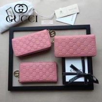 GUCCI 409532-2 潮流新款女士粉色全皮壓花拉鏈錢包