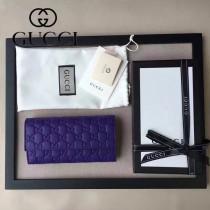 GUCCI 410100-05 名媛必備時尚新款紫色全皮壓花長款錢夾