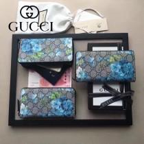 GUCCI 404071-4 時尚新款天竺葵系列PVC配牛皮長款拉鏈錢包