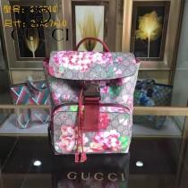 GUCCI 410544-2 時尚新款天竺葵系列PVC配牛皮雙肩包書包