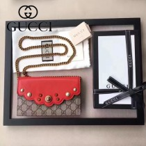 GUCCI 0001 時尚新款珍珠系列紅色牛皮配pvc防水面料單肩斜挎包