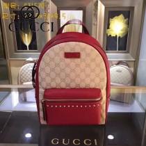 GUCCI 431570-6 時尚新款女士帆布配紅色牛皮休閒雙肩包書包