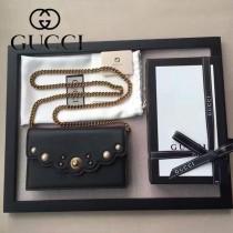 GUCCI 0001 時尚新款珍珠系列黑色牛皮單肩斜挎包