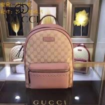 GUCCI 431570-10 時尚新款女士帆布配粉色牛皮休閒雙肩包書包