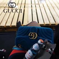 GUCCI 446744-8 時尚新款GG marmont藍色天鵝絨中號單肩斜挎包