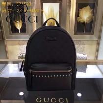 GUCCI 431570-9 時尚新款女士黑色帆布配黑色牛皮休閒雙肩包書包
