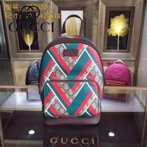 GUCCI 429020-5 時尚新款人形圖案PVC配牛皮雙肩包書包