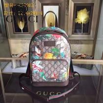 GUCCI 427042-2 時尚新款花鳥圖案PVC配原版牛皮雙肩包書包