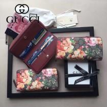 GUCCI 438296-4 時尚女士天竺葵系列PVC配牛皮長款拉鏈錢包