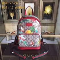 GUCCI 427042-3 時尚新款花鳥圖案PVC配原版牛皮雙肩包書包