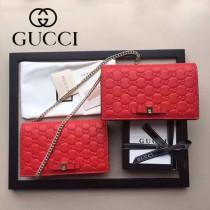 GUCCI 431408 時尚新款紅色全皮壓花蝴蝶結單肩斜挎包