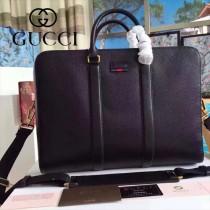 GUCCI 429035 最新款商務男士黑色原版皮手提單肩包