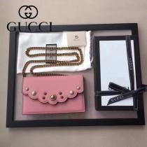 GUCCI 0001-2 時尚新款珍珠系列粉色牛皮單肩斜挎包