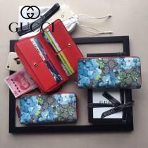 GUCCI 438296-3 時尚女士天竺葵系列PVC配牛皮長款拉鏈錢包