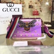 GUCCI 453778-4 原單 Broadway蜂蜜珍珠系列亮面粉色牛皮單肩斜挎包