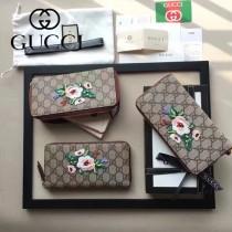GUCCI 456863-2 專櫃限量版花朵刺繡PVC配牛皮長款錢包