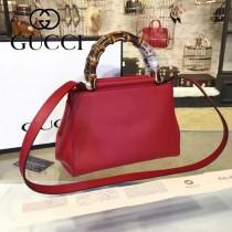 GUCCI 453767-2 早春新款Nymphea紅色原版皮配竹節手腕小號手提單肩包