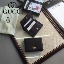 GUCCI 456126-3 時尚新款女士黑色牛皮短款卡片包錢包