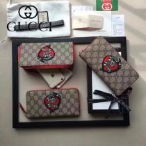 GUCCI 456863 專櫃限量版精靈蛇刺繡PVC配牛皮長款錢包