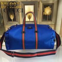 GUCCI 450983 戶外必備藍色帆布配牛皮大容量手提單肩包旅行袋