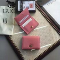 GUCCI 456126-4 時尚新款女士粉色牛皮短款卡片包錢包
