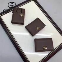 GUCCI 456126 時尚新款女士咖啡色牛皮短款卡片包錢包