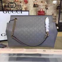 GUCCI 453771 專櫃新款女士灰色原版皮壓花單肩購物袋