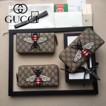 GUCCI 456863-3 專櫃限量版蜜蜂刺繡PVC配牛皮長款錢包