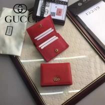 GUCCI 456126-2 時尚新款女士紅色牛皮短款卡片包錢包