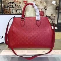 GUCCI 453704-5 專櫃新款紅色原版小牛皮壓花手提單肩包購物袋
