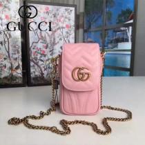 GUCCI 462002-2 潮流新款百搭粉色全皮鏈條手機包可放入iPhone7PLUS