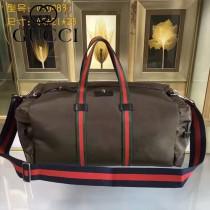 GUCCI 450983-2 戶外必備咖啡色帆布配牛皮大容量手提單肩包旅行袋