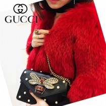 GUCCI 453778-5 原單 Broadway蜂蜜珍珠系列黑色牛皮單肩斜挎包