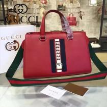 GUCCI 453790-2 早春新品Sylvie Collection Handbag紅色牛皮手提單肩包