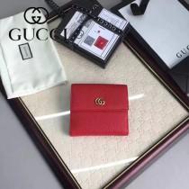 GUCCI 456122-3 潮流新款女士紅色牛皮短款三折錢包