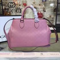 GUCCI 453704-3 專櫃新款粉色原版小牛皮壓花手提單肩包購物袋