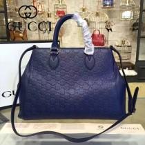 GUCCI 453704-6 專櫃新款藍色原版小牛皮壓花手提單肩包購物袋