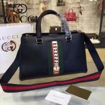 GUCCI 453790-3 早春新品Sylvie Collection Handbag黑色牛皮手提單肩包