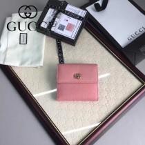 GUCCI 456122-2 潮流新款女士粉色牛皮短款三折錢包