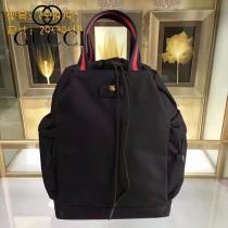 GUCCI 450979-2 專櫃走秀款男士黑色帆布休閒雙肩包手提包