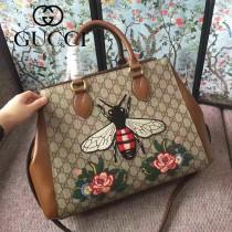GUCCI 453704-2 早春專櫃最新刺繡蜜蜂PVC配牛皮手提單肩包購物袋