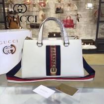 GUCCI 453790 早春新品Sylvie Collection Handbag白色牛皮手提單肩包