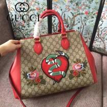 GUCCI 453704 早春專櫃最新刺繡精靈蛇PVC配牛皮手提單肩包購物袋