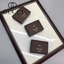 GUCCI 460185-3 輕便實用小蜜蜂系列咖啡色牛皮兩折零錢包卡包