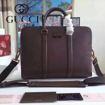GUCCI 429036-2 時尚商務男士咖啡色原版皮小號手提單肩包