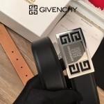 Givenchy皮帶-01 紀梵希潮流商務男士銀扣進口牛皮皮帶