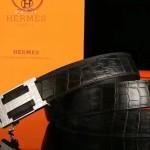 HERMES皮帶-011 愛馬仕新款雙面帶自動扣原版鱷魚紋牛皮皮帶